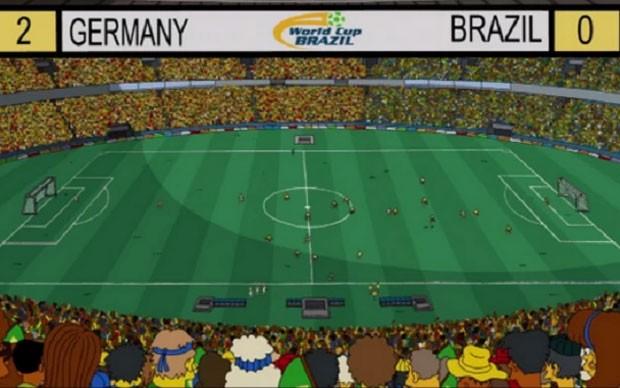 Placar mostra vitória alemã por 2 x 0 sobre o Brasil em episódio de 'Os Simpsons' (Foto: Reprodução)