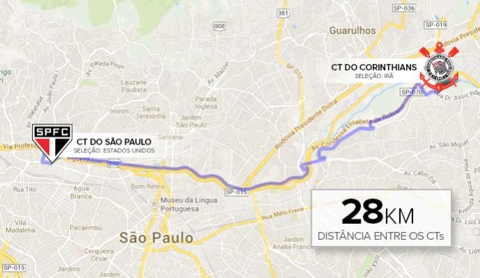 Info Distancia entre CTs do Sao Paulo e Corinthians (Foto: Infoesporte)