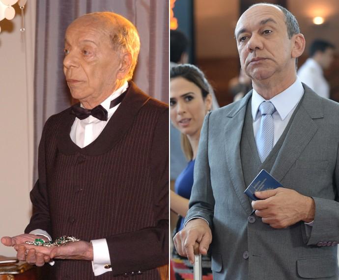 Ítalo Rossi, como o mordomo Alfred de 'Senhora do Destino' e Frank Menezes como Júnior de 'I Love Paraisópolis' (Foto: TV Globo)