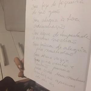 Registro de um dos poemas de Daniela Mercury (Foto: Arquivo pessoal)