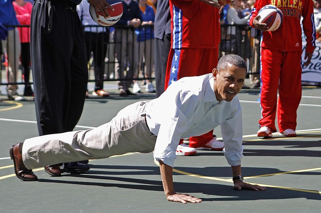 Barack Obama se exercitando durante festa da páscoa na Casa Branca (Foto: Chip Somodevilla/Getty Images)