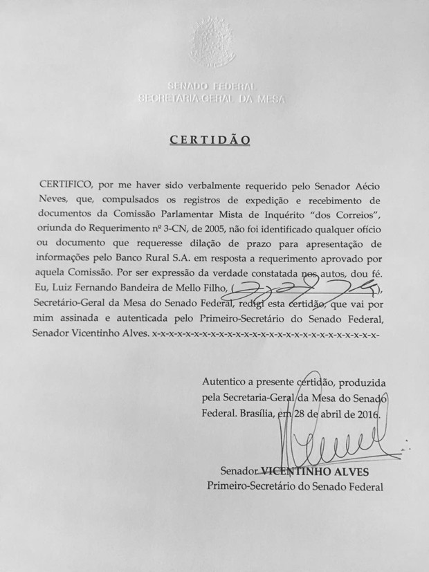 Certidão da Secretaria Geral do Senado afirma que não foi identificado ofício solicitando prorrogação do prazo para apresentação informações do Banco Rural (Foto: Reprodução)