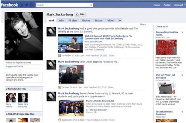 Página do Facebook em 2008 (Foto: Reprodução/Wayback Machine)