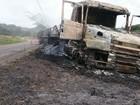 Carreta roubada é encontrada em chamas perto de Coronel Pacheco