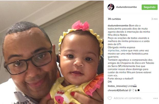 Filha de Dudu Nobre é internada (Foto: Reprodução/ Instagram)