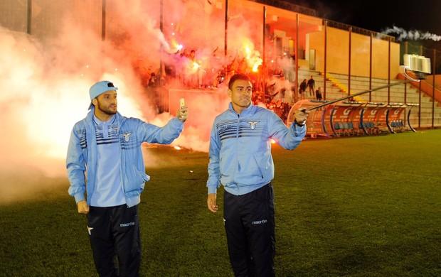 Festa da torcida da Lazio após vaga na final da Copa da Itália