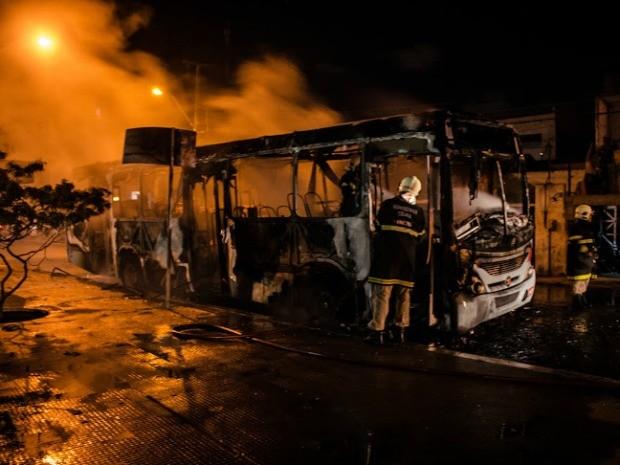 Ônibus foi incendiado por grupo que continha dois galões de gasolina, diz polícia (Foto: Gustavo Sampaio)