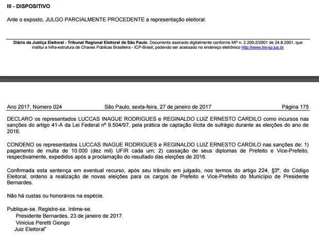 Decisão que cassou prefeito e vice foi publicada nesta sexta-feira (27) (Foto: Reprodução/Diário da Justiça Eletrônico)