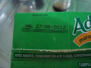 Validade do produto estava dentro do prazo (Foto: Elisangela Pinho/VC no G1)