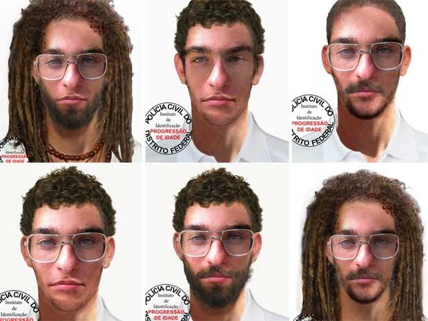 Imagens feitas peloa Polícia Civil com programa de computador mostram como poderia estar a fisionomia de Artur Pachoali (Foto: Polícia Civil/Divulgação)