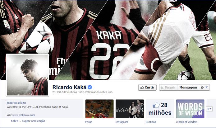 Kaká do Milan tem 28,001,623 de fãs no Facebook (Foto: Reprodução/Facebook)