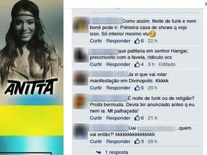 Anúncio em página de casa de shows informa sobre proibição de peças de vestuário e internautas comentam (Foto: Facebook/Reprodução)