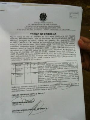 Termo de entrega (Foto: Fernanda Resende/G1)