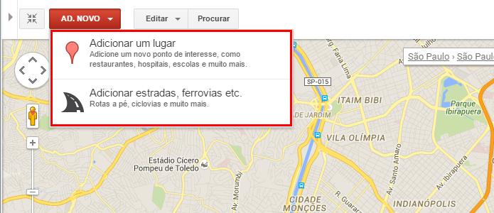 Adicione uma nova entrada no mapa (Foto: Reprodução/Paulo Alves)