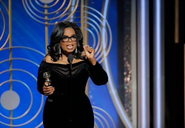 Oprah Winfrey durante discurso no Globo de Ouro (Foto: Paul Drinkwater/NBCUniversal via Getty Images)