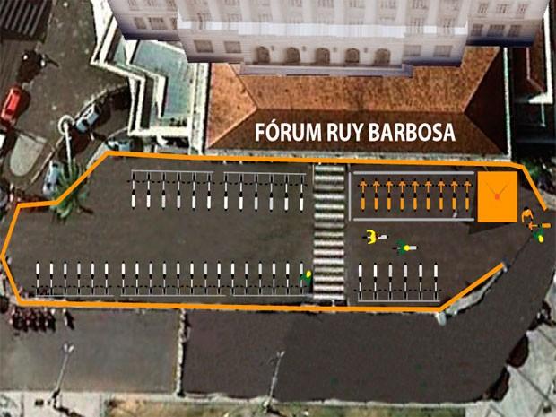 Bicicletário ficará localizado em frente ao Fórum Ruy Barbosa, no bairro de Nazaré (Foto: Divulgação / Secopa)