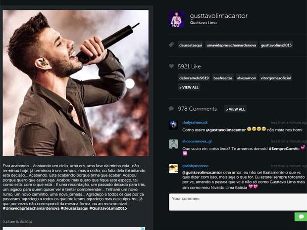 Post de Gusttavo Lima no Instagram (Foto: Instagram/ Reprodução)