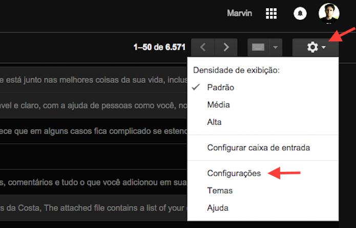 Acessando as configurações do Gmail (Foto: Reprodução/Marvin Costa)
