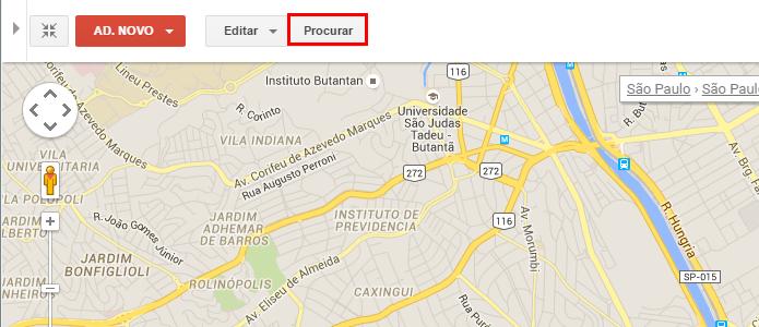 Busque por um local para editar (Foto: Reprodução/Paulo Alves)