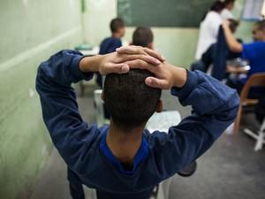 Detalhe de sala de aula da Fundação Casa Raposo Tavares (Foto: Victor Moriyama/G1)