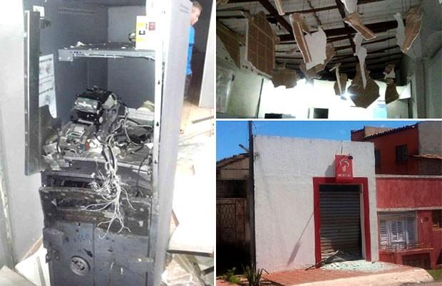 Com a força da explosão, parte do forro da agência desabou (Foto: Sargento Amarildo Nascimento)