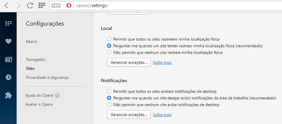 Menu do Opera é semelhante ao encontrado no Chrome (Foto: Reprodução/Opera)