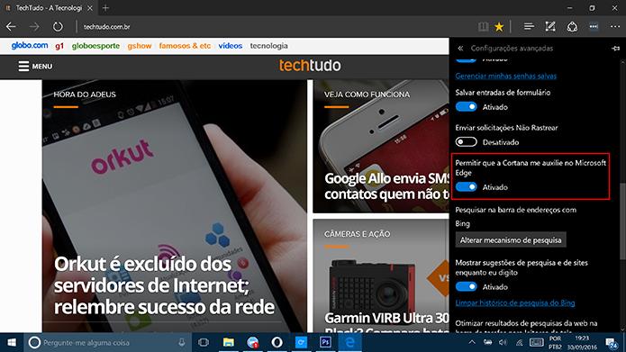 Ative a Cortana para receber sugestões no Microsoft Edge (Foto: Reprodução/Elson de Souza)