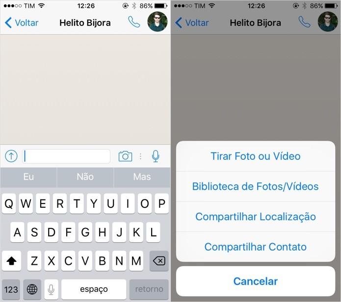 Enviando conteúdo multimídia no WhatsApp (Foto: Reprodução/Helito Bijora)