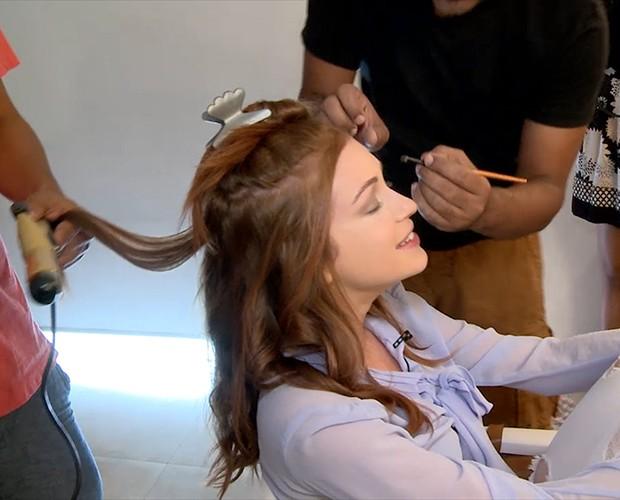 Marina confessa que sempre gostou muito de maquiagem (Foto: Gshow)