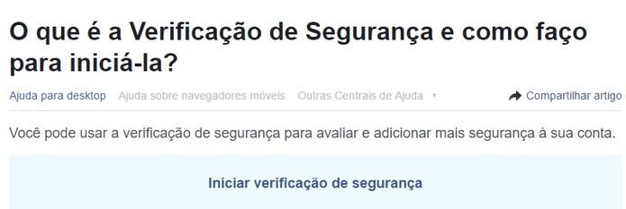Clique em Iniciar verificação de segurança (Foto: Reprodução/Camila Peres) (Foto: Clique em Iniciar verificação de segurança (Foto: Reprodução/Camila Peres))