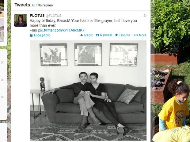 Michelle Obama desejou feliz aniversário neste domingo (4) a Obama pelo Twitter (Foto: Reprodução)