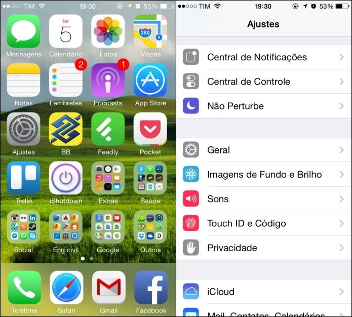 Abra as configurações do iOS (Foto: Reprodução/Helito Bijora) (Foto: Abra as configurações do iOS (Foto: Reprodução/Helito Bijora))