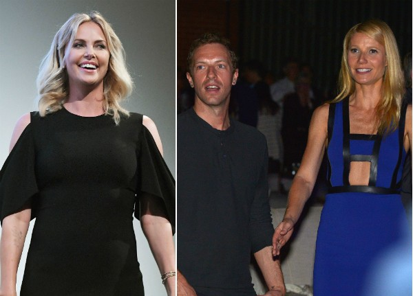 Charlize Theron, Chris Martin e Gwyneth Paltrow (Foto: Getty Images)
