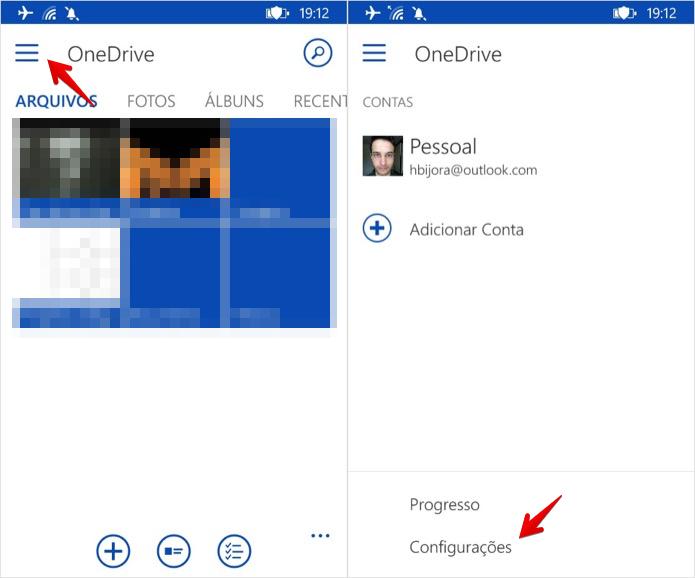 Acesse as configurações do OneDrive (Foto: Reprodução/Helito Bijora)