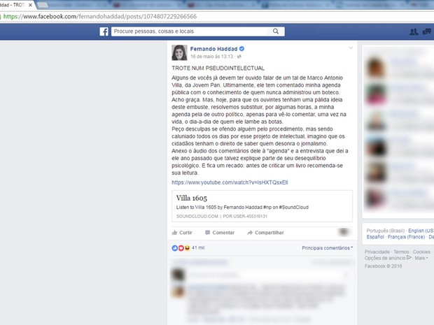 Prefeito de São Paulo Fernando Haddad comentou trote em comentarista de rádio e histoirador em rede social (Foto: Reprodução/Facebook/Fernando Haddad)