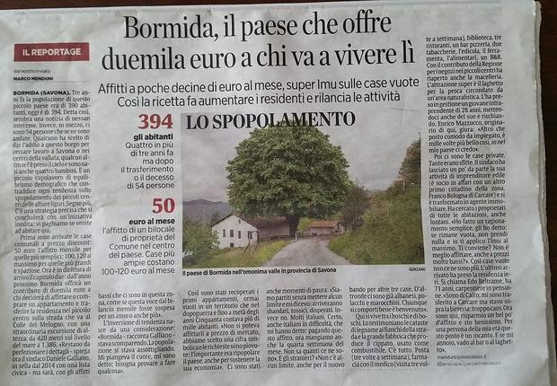 Vila de Bormida, na Itália, vai parar nos jornais ao oferecer dinheiro para quem se mudar para lá (Foto: Reprodução/Facebook)