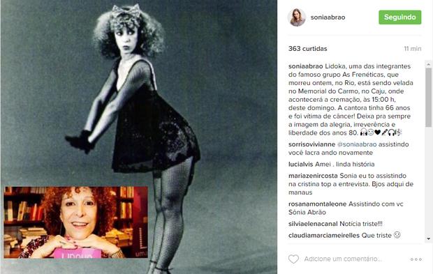 Sonia Abrão fala sobre Lidoka (Foto: Reprodução/ Instagram)