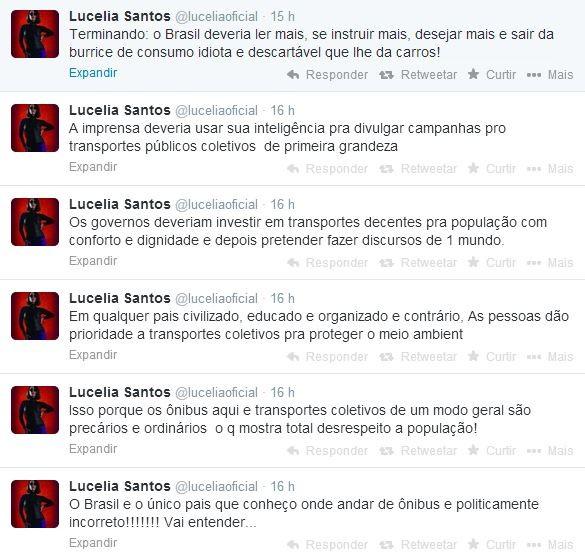 Lucélia Santos posta mensagens no twitter sobre andar de ônibus (Foto: Reprodução / Twitter)