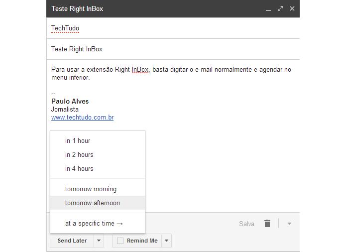 Right Inbox inclui botão de agendamento de e-mail dentro da janela de nova mensagem do Gmail (Foto: Reprodução/Paulo Alves)