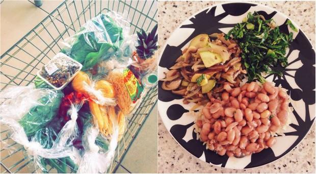 Julia Konrad só compra alimentos naturais e é fã de shitake refogado com abobrinha, cebola e alho, arroz, feijão e couve (Foto: Reprodução do Instagram)