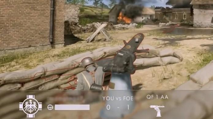 Esta imagem do soldado toupeira em Battlefield 1 é rara, pois normalmente ele entra completamente no cenário e se torna invisível (Foto: Reprodução/YouTube)