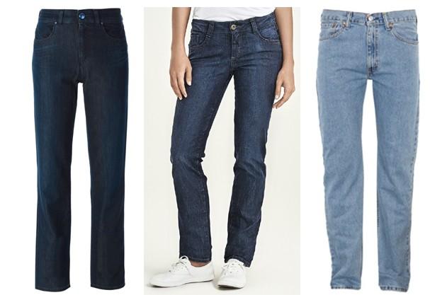 Calça reta: da esq. pra dir. : Armani Jeans, Hering e Levi's  (Foto: Divulgação)