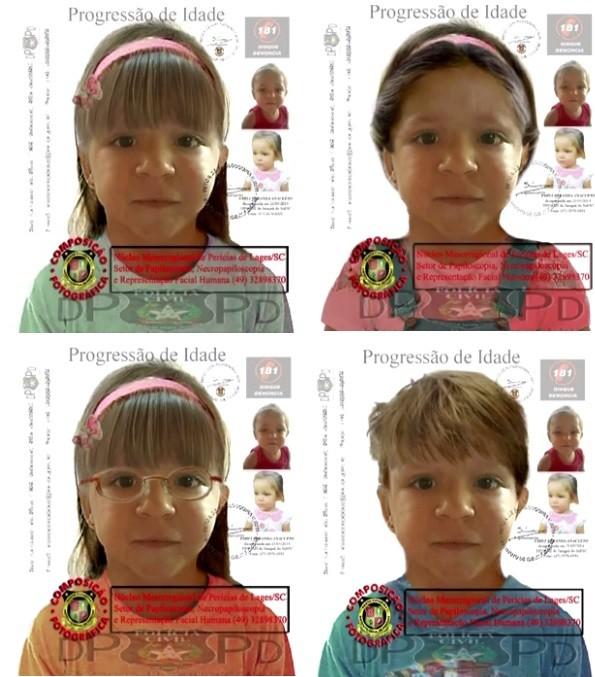 Retratos foeam criados para ajudar nas buscas por Emili (Foto: Polícia Civil/Montagem G1)