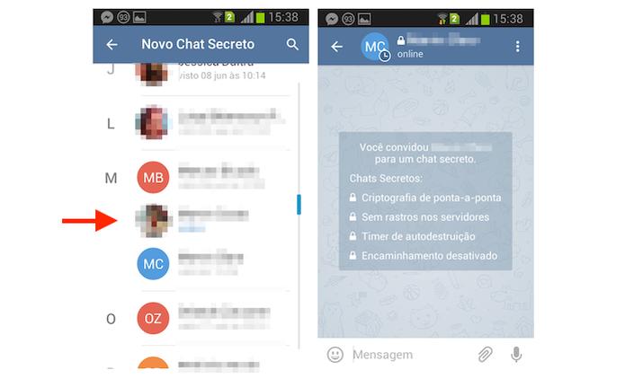 Iniciando um chat secreto com um contato do Telegram pelo Android (Foto: Reprodução/Marvin Costa) (Foto: Iniciando um chat secreto com um contato do Telegram pelo Android (Foto: Reprodução/Marvin Costa))