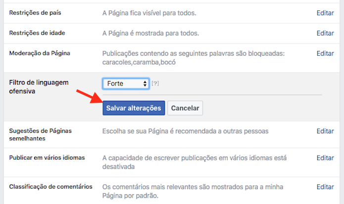 Página de ativação do filtro para conteúdo ofensivo em uma página do Facebook (Foto: Reprodução/Marvin Costa)