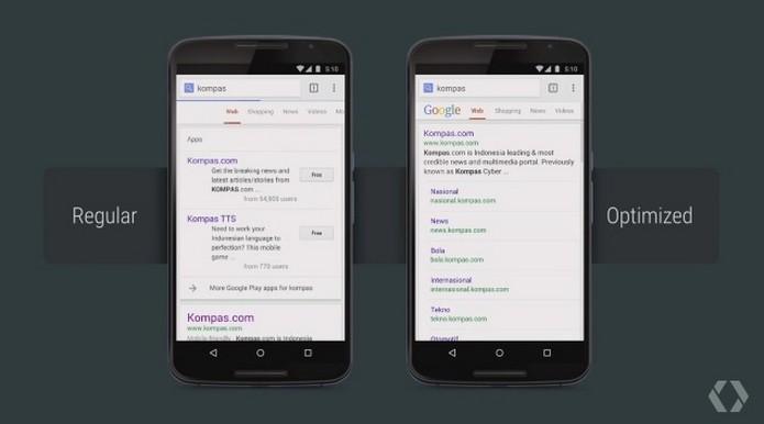Páginas otimizadas no app do Google Chrome (Foto: Reprodução/Google I/O 2015/YouTube)