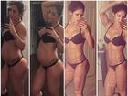 Grávida, Bella Falconi mostra antes e depois