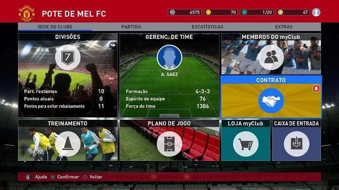 Plano de jogo é a segunda opção do menu do MyClub (Foto: Reprodução/Thiago Barros)