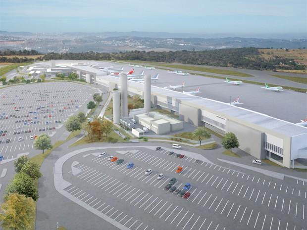 Perspectiva do Terminal 1 do Aeroporto Internacional Tancredo Neves (Foto: Divulgação / BH Airport)