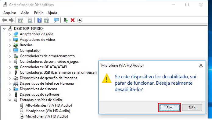 Confirmando a desativação do microfone no Windows (Foto: Reprodução/Edivaldo Brito)